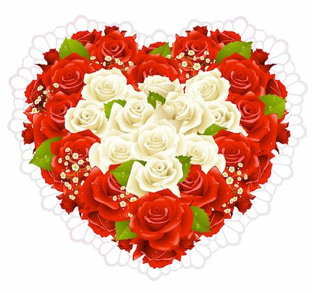 Bunch roses in the shape of heart Stock Photo - Budget Royalty-Free & Subscription, Code: 400-04266028