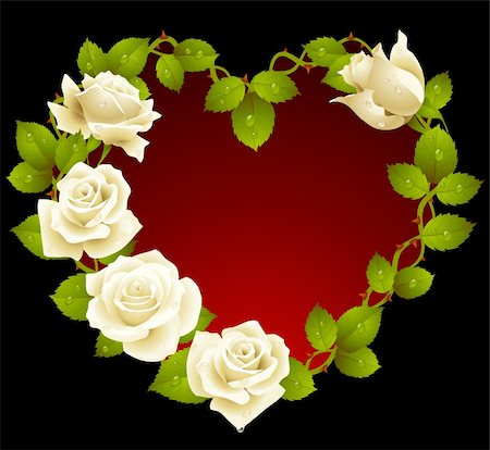Framework from white roses in the shape of heart Stock Photo - Budget Royalty-Free & Subscription, Code: 400-04266031
