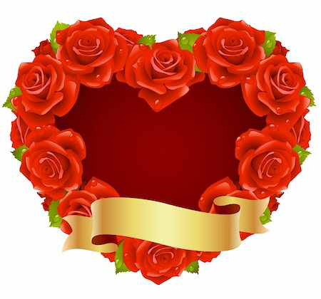 Vector red Rose Frame in the shape of heart Stock Photo - Budget Royalty-Free & Subscription, Code: 400-04266129