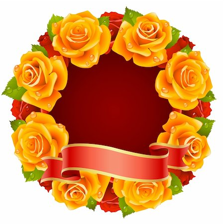 Vector orange Rose Frame in the shape of round Stock Photo - Budget Royalty-Free & Subscription, Code: 400-04266134