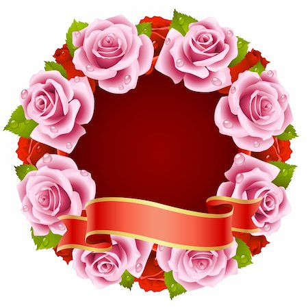Vector pink Rose Frame in the shape of round Stock Photo - Budget Royalty-Free & Subscription, Code: 400-04266136