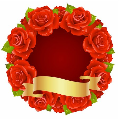 Vector red Rose Frame in the shape of round Stock Photo - Budget Royalty-Free & Subscription, Code: 400-04266130