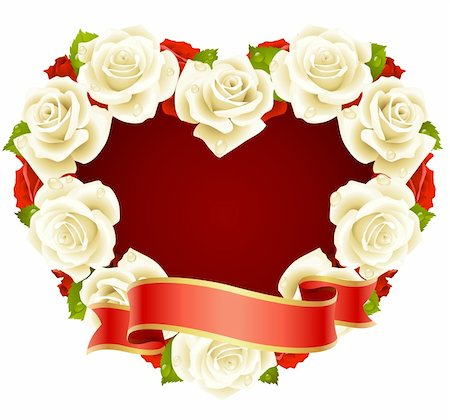Vector white Rose Frame in the shape of heart Stock Photo - Budget Royalty-Free & Subscription, Code: 400-04266131