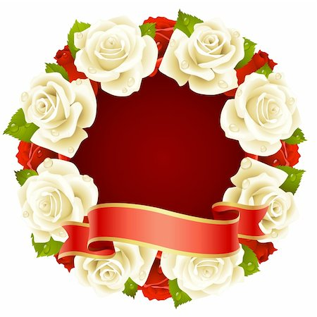 Vector white Rose Frame in the shape of round Stock Photo - Budget Royalty-Free & Subscription, Code: 400-04266132