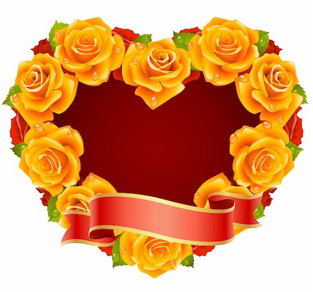 Vector orange Rose Frame in the shape of heart Stock Photo - Budget Royalty-Free & Subscription, Code: 400-04266133