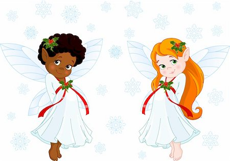 Cute Christmas fairies flying in the snowing sky Stock Photo - Budget Royalty-Free & Subscription, Code: 400-04266286
