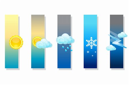 illustration of types of weather on white background Stock Photo - Budget Royalty-Free & Subscription, Code: 400-04266612