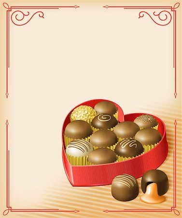 Vector illustration of a heart-shaped Valentine's box of chocolates, in a vintage Victorian style. Multi-layered for editing. File is RGB, but all colors are CMYK-safe. Stock Photo - Budget Royalty-Free & Subscription, Code: 400-04266673