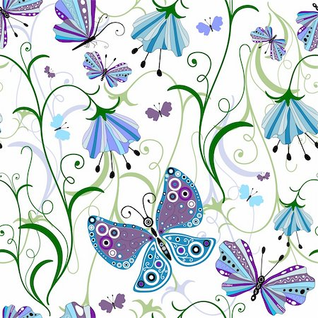 White seamless floral pattern with blue-violet flowers and butterflies (vector) Stock Photo - Budget Royalty-Free & Subscription, Code: 400-04267320