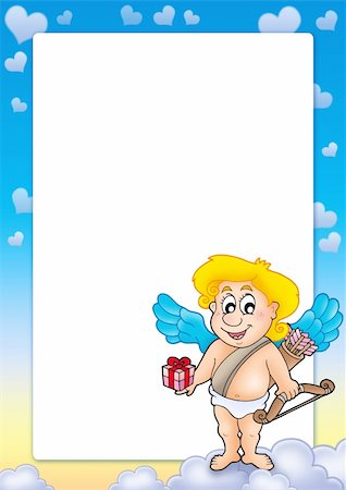 flying hearts clip art - Frame with Cupid holding gift - color illustration. Stock Photo - Budget Royalty-Free & Subscription, Code: 400-04267359