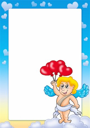 flying hearts clip art - Valentine frame with Cupid 5 - color illustration. Stock Photo - Budget Royalty-Free & Subscription, Code: 400-04267419