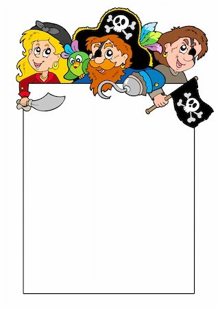 Blank frame with cartoon pirates - vector illustration. Stock Photo - Budget Royalty-Free & Subscription, Code: 400-04267681