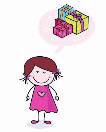Stick figure girl with new gifts. Vector Illustration. Stock Photo - Budget Royalty-Free & Subscription, Code: 400-04267807