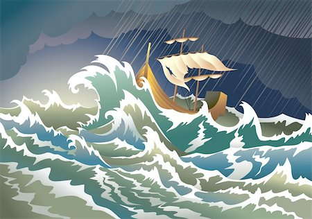 sailing boat storm - Storm at the sea, sinking ship, heavy clouds; vector illustration Stock Photo - Budget Royalty-Free & Subscription, Code: 400-04267923