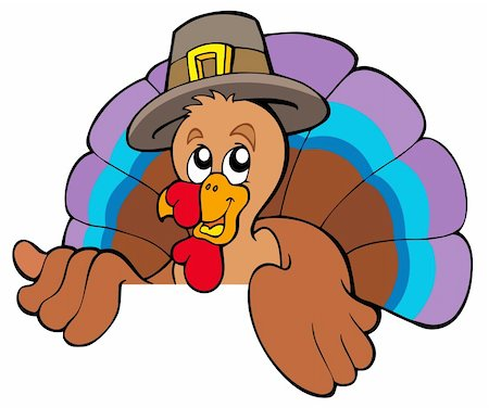 Lurking cartoon turkey in hat - vector illustration. Stock Photo - Budget Royalty-Free & Subscription, Code: 400-04267965
