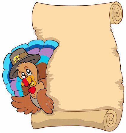Thanksgiving scroll with turkey 1 - vector illustration. Stock Photo - Budget Royalty-Free & Subscription, Code: 400-04267989