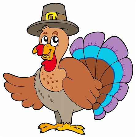 Thanksgiving turkey with hat - vector illustration. Stock Photo - Budget Royalty-Free & Subscription, Code: 400-04267991