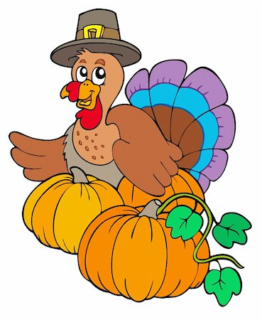 Thanksgiving turkey with pumpkins - vector illustration. Stock Photo - Budget Royalty-Free & Subscription, Code: 400-04267992