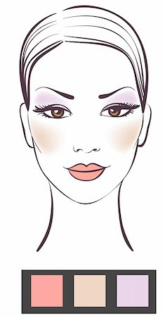 Beauty women face with makeup vector illustration Stock Photo - Budget Royalty-Free & Subscription, Code: 400-04268290