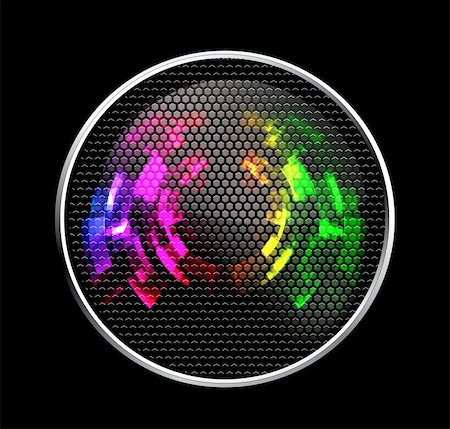 Abstract Futuristic Speaker with Glowing Lights on black Stock Photo - Budget Royalty-Free & Subscription, Code: 400-04269346