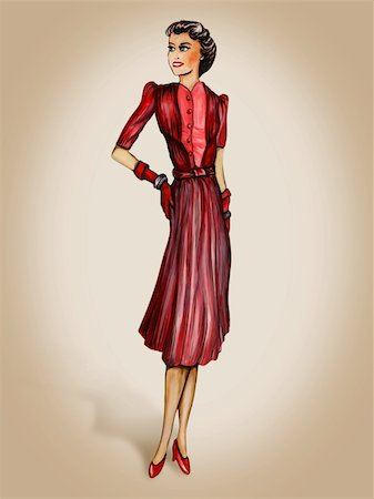 Retro style 1940s inspired fashion illustration Stock Photo - Budget Royalty-Free & Subscription, Code: 400-04269340