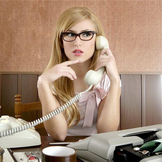 beautiful retro businesswoman vintage secretary wooden office and glasses talking telephone Stock Photo - Royalty-Free, Artist: lunamarina, Image code: 400-04269665