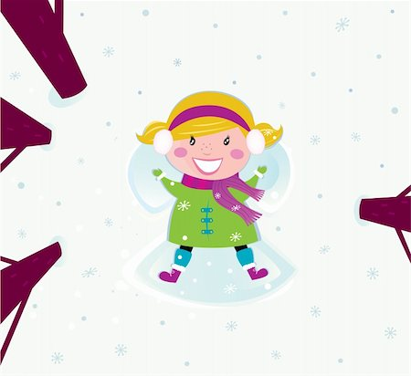Happy christmas girl in winter nature making angel. Vector cartoon illustration. Stock Photo - Budget Royalty-Free & Subscription, Code: 400-04269735