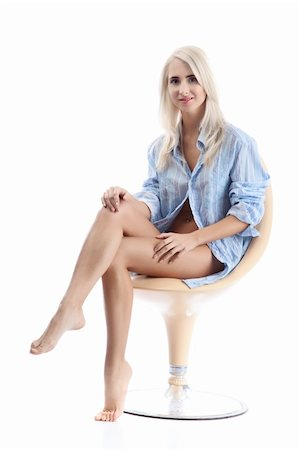 fine blond women in blue over white background Stock Photo - Budget Royalty-Free & Subscription, Code: 400-04269847