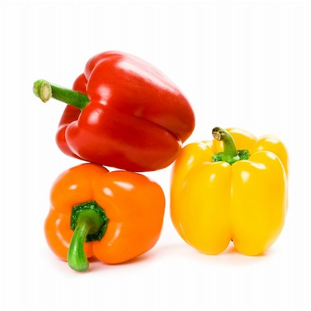 pimento - three bell peppers isolated on white background Stock Photo - Budget Royalty-Free & Subscription, Code: 400-04260003