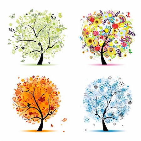Four seasons - spring, summer, autumn, winter. Art tree beautiful for your design Stock Photo - Budget Royalty-Free & Subscription, Code: 400-04260328