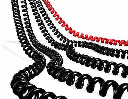 Several telephone cables red and black isolated in white Stock Photo - Budget Royalty-Free & Subscription, Code: 400-04260673