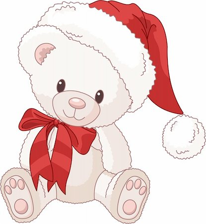 simsearch:400-04598294,k - Illustration of Very Cute  Christmas Teddy Bear with Santa?s hat Stock Photo - Budget Royalty-Free & Subscription, Code: 400-04261225