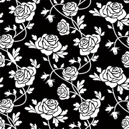 Romantic white roses on black background, vector seamless pattern, repeating design. Stock Photo - Budget Royalty-Free & Subscription, Code: 400-04261625