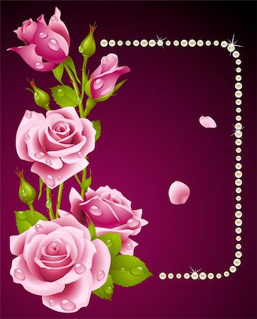 Vector pink rose and pearls frame. Design element. Stock Photo - Budget Royalty-Free & Subscription, Code: 400-04262335