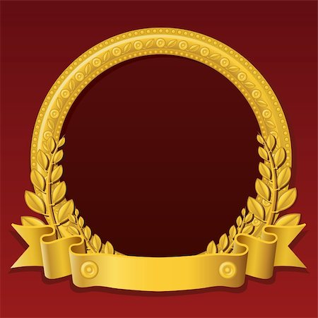Round frame made of gold, decorated with different jewelry elements and golden ribbon Stock Photo - Budget Royalty-Free & Subscription, Code: 400-04262343