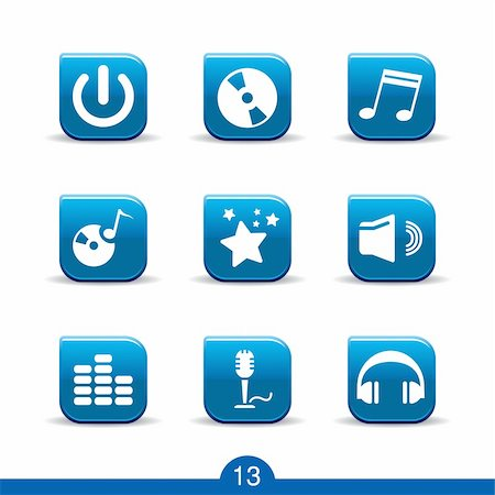Set of nine music web icons from series Stock Photo - Budget Royalty-Free & Subscription, Code: 400-04262461
