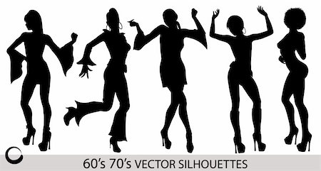 Retro dancing girl vector silhouettes isolated on white background Stock Photo - Budget Royalty-Free & Subscription, Code: 400-04263058