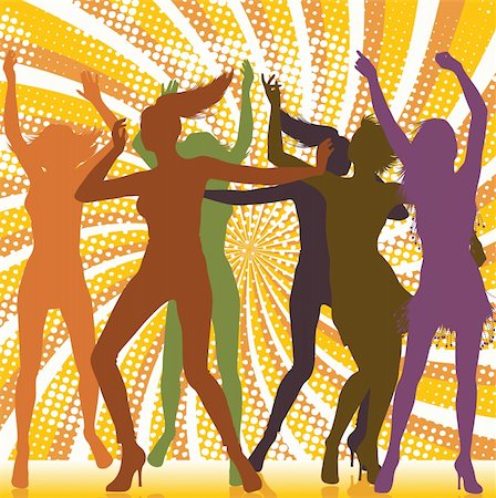 Dancing girls silhouettes with sunburst background Stock Photo - Budget Royalty-Free & Subscription, Code: 400-04263064