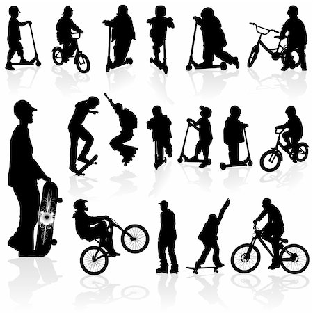 sports scooters - Extreme silhouettes children and man on roller, bicycle, skateboard, vector illustration Stock Photo - Budget Royalty-Free & Subscription, Code: 400-04263342
