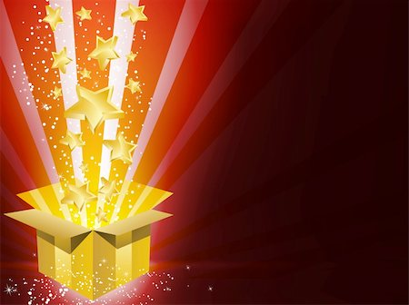 red colour background with white fireworks - Vector - Christmas Golden Gift Box with Stars Stock Photo - Budget Royalty-Free & Subscription, Code: 400-04263445