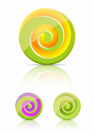 red circle lollipop - swirl candy.  lollipop set isolated on white background Stock Photo - Budget Royalty-Free & Subscription, Code: 400-04263450