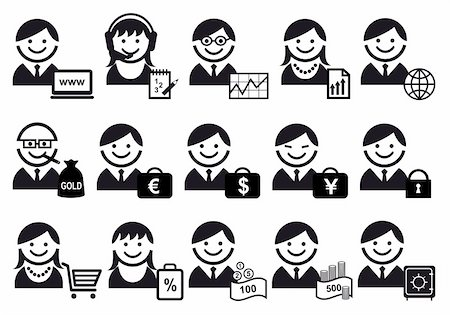 business people with financial objects, vector icon set Stock Photo - Budget Royalty-Free & Subscription, Code: 400-04263882