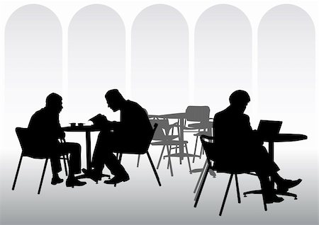 Vector image of business people for lunch at a restaurant Stock Photo - Budget Royalty-Free & Subscription, Code: 400-04274375