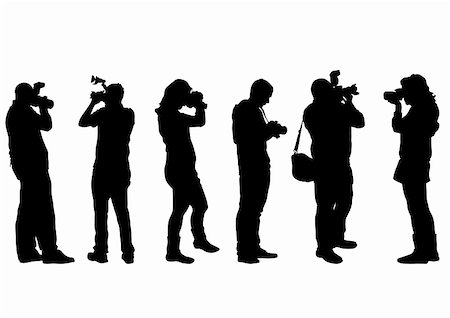 Vector image of people with cameras on a white background Stock Photo - Budget Royalty-Free & Subscription, Code: 400-04274377