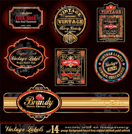 Vintage Labels - Black and Gold Elements with distressed Antique look - Set 17 Stock Photo - Budget Royalty-Free & Subscription, Code: 400-04274572