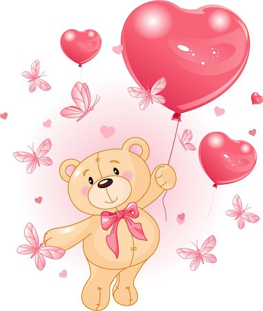 flying hearts clip art - Valentine?s Teddy Bear Hanging from a heart shape Balloons Stock Photo - Budget Royalty-Free & Subscription, Code: 400-04274690