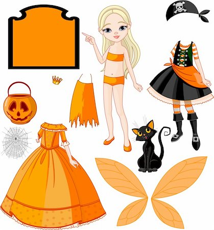 Pointing Paper Doll with three dresses for Halloween Party Stock Photo - Budget Royalty-Free & Subscription, Code: 400-04275156