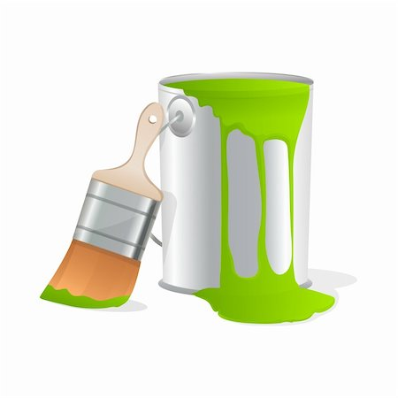 pouring paint art - illustration of paint bucket with paint brush on isolated white background Stock Photo - Budget Royalty-Free & Subscription, Code: 400-04275262