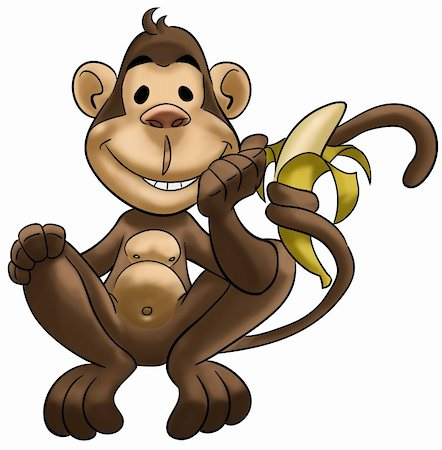 happy monkey smiling and with a banana in his tail Stock Photo - Budget Royalty-Free & Subscription, Code: 400-04275482