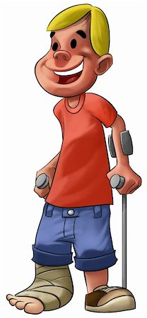 a young and smiley boy with a broken leg Stock Photo - Budget Royalty-Free & Subscription, Code: 400-04275503